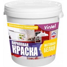 Acrylic paint for wet areas matte VinJel, white base A 7.5 kg.